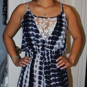 tie-dye blue and white romper